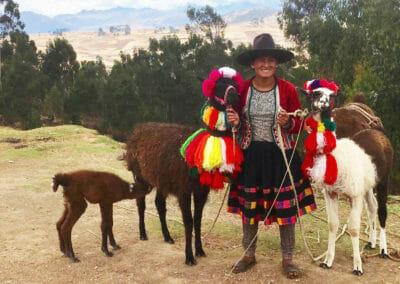 Huilloc Woman with Llamas