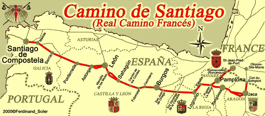 map of the camino route