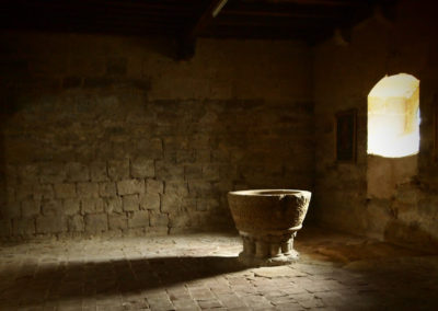 Baptismal font in local medieval church