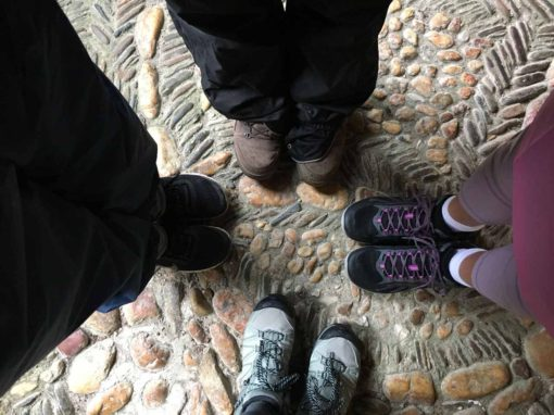 Boots on the ground! Pilgrims setting out to begin their trek. Sarria, Galicia. Deb, Allison, Richard & Giselle