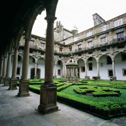 Courtyard at the Parador de Santiago hotel.