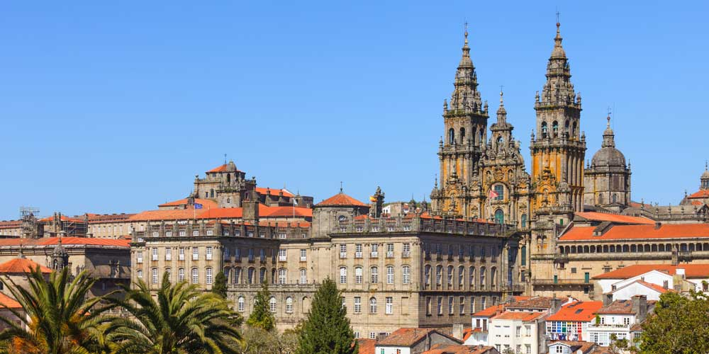 View of the historic city centre of Santiago de Compostela and its cathedral