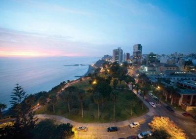 Miraflores at sunset, Lima, Peru