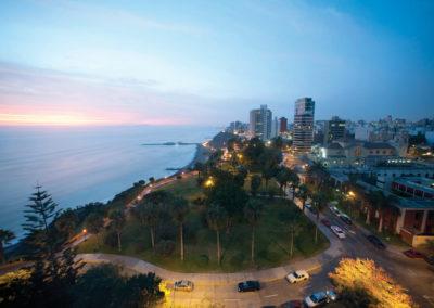 Miraflores at sunset, Lima, Peru