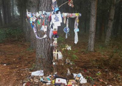 A Prayer tree where pilgrim leave mementos and prayers.  Near Ventas de Naron.