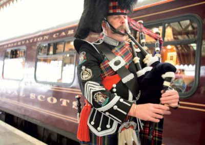 Royal Scotsman Train & Bagpiper