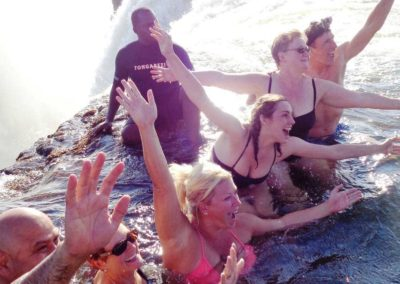Our group in the Devil's Pool, Victoria Falls, Zambia