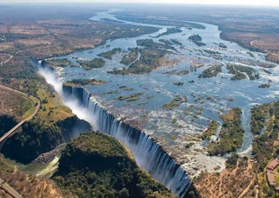 Victoria Falls (with The Royal Livingstone Hotel on the bottom right)