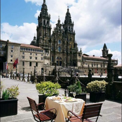 View of the Cathedral de Santiago from the terrace of the Parador de Santiago Hotel.